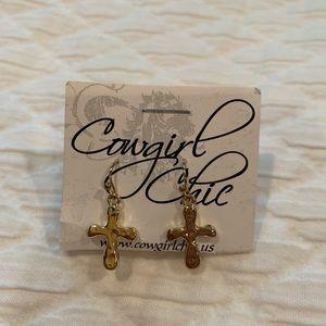 Cowgirl Chic Gold Cross Earrings